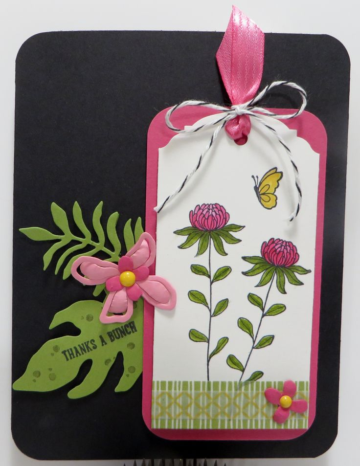 Stampin' Up Flowering Fields Botanicals Tag Card created by Lynn Gauthier using Flowering Fields, Botanical Blooms, Sprinkles of Life and Suite Sayings Stamp Sets and Botanical Builder Framelits. Go to http://lynnslocker.blogspot.com/2016/01/stampin-up-flowering-fields-botanicals_12.html to see how this card was made.