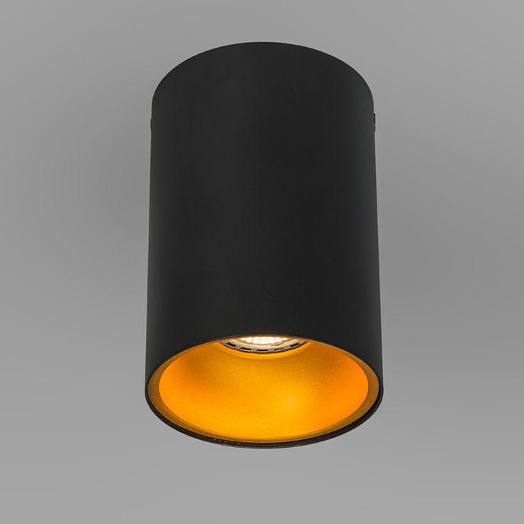 Plafondspot Deep zwart met goud - voor de keuken