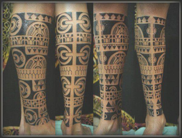 Full leg maori tattoo - Design of Tattoos