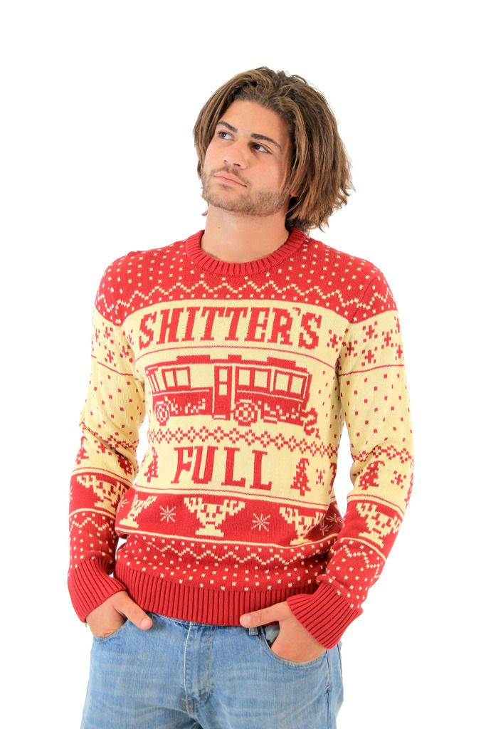 "Who doesn't love Cousin Eddie from National Lampoon's Vacation and National Lampoon's Christmas Vacation. Cousin Eddie steals the show in especially the latter, and everyone remembers his funny line ""Shitter's Full."" Now you can gross out your friends with our Shitter's Full ugly holiday sweater."