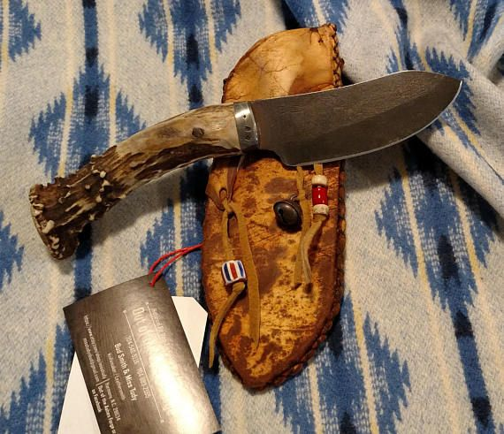 Hand Made Mountain Man Nessmuk Knife In Rawhide Sheath Native American Knives Mountain Man Handmade