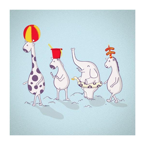 Animals Print Nursery Decor - To The Beach illustration Print, size 9 x 9. $16.00, via Etsy.