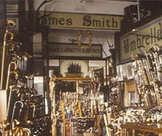 The world famous James Smith and Sons Umbrella Shop was founded in 1830 and is still owned and run as a family business. For 175 years the company has been making umbrellas, sticks and canes for both ladies and gentlemen and their reputation as the home of the London umbrella is well justified.