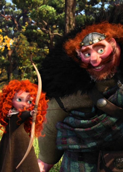 King Fergus teaching his little daughter Merida how to shoot with a bow and arrow. :) <3