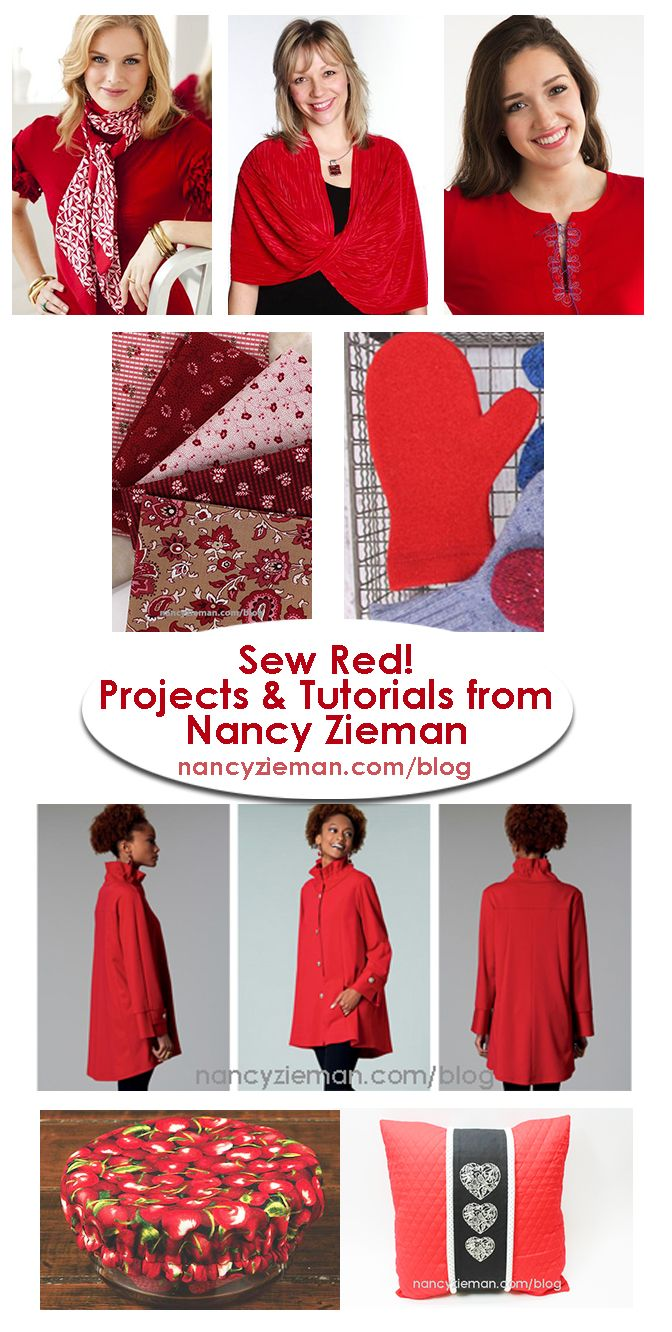 Sew Red Projects Round Up with Tutorials by Nancy Zieman  | Nancy Zieman Blog | Love is in the air! It seems most holidays have colors associated with them. Thankfully, the sewing community is a very visual group, so colors are a welcome jumping-off point for many design ideas...