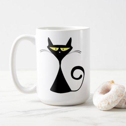 Black Cat Cartoon Silhouette Coffee Mug - diy cyo customize create your own personalize