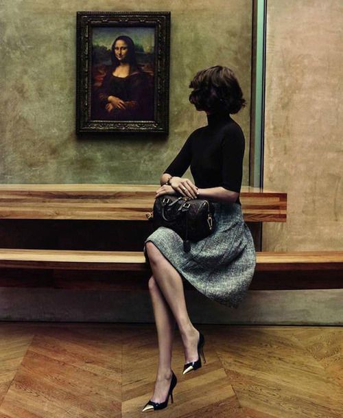 Arizona Muse with the Mona Lisa in the Louvre for Louis Vuitton,