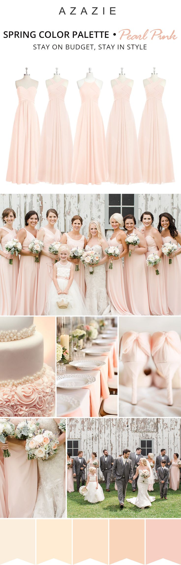Mixing-and-matching your bridesmaids is easy! Azazie offers 50+ colors to choose from. We offer color swatches to make mixing & matching easier. Wedding tip: Try out our sample program before you purchase to make sure you are completely in love with a dress! Azazie has over 100 styles from delicate lace to bold satins. Shop our affordable bridesmaid dresses today!| Photos courtesy of ellerosephoto.com
