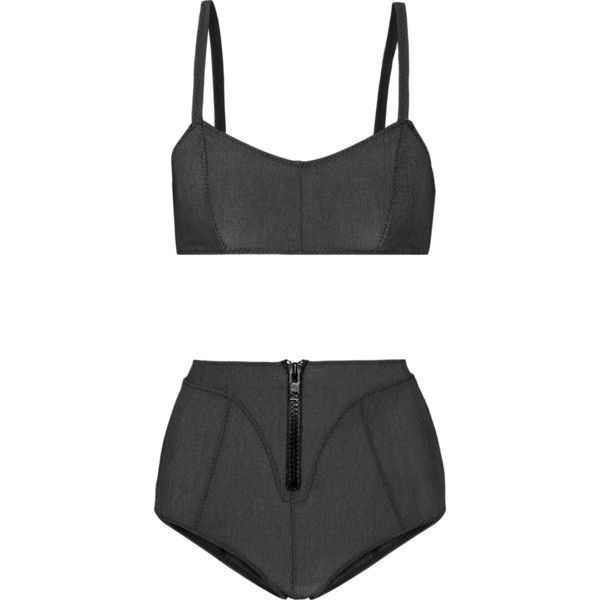 Lisa Marie Fernandez Genevieve stretch cotton-blend bikini ($420) ❤ liked on Polyvore featuring grey and lisa marie fernandez