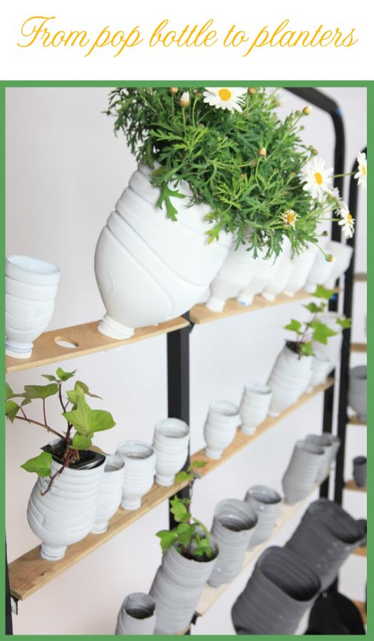 from pop bottle to planters -- perhaps integrate the bottles into a larger PVC pipe mounted vertically into the ground...