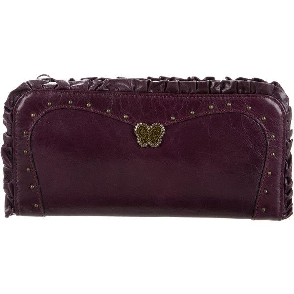 Pre-owned Anna Sui Ruffle-Accented Leather Clutch ($125) ❤ liked on Polyvore featuring bags, handbags, clutches and purple
