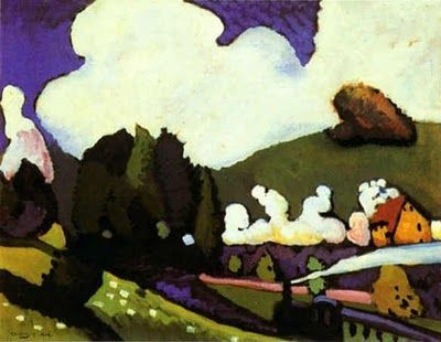 Vasily Kandinsky (b. 1866, Moscow; d. 1944, Neuilly-sur-Seine, France) Landscape near Murnau with a Locomotive 1909 #FredericClad #THEFARM