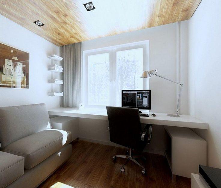 aménagement bureau devant fenêtre avec canapé