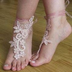 Rose perles mariage de plage sandales aux pieds nus,accessoires de mariée pied
