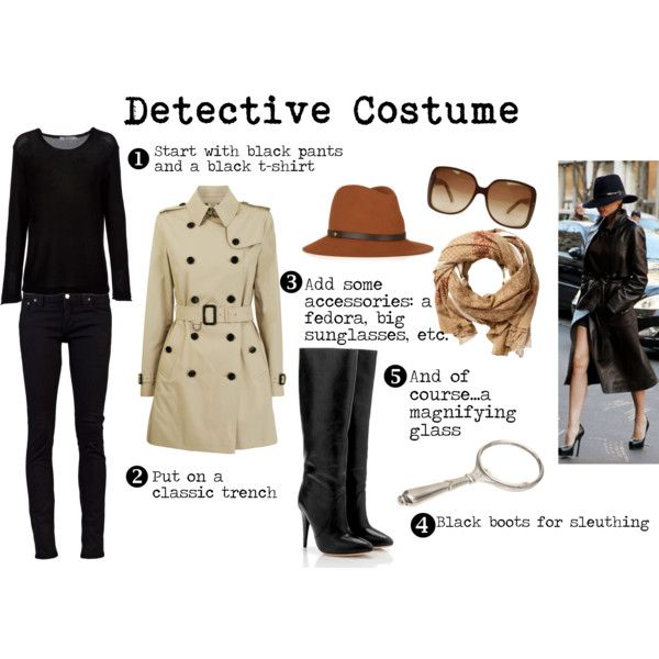 detective costume, created by thelittlemermaid810 on Polyvore