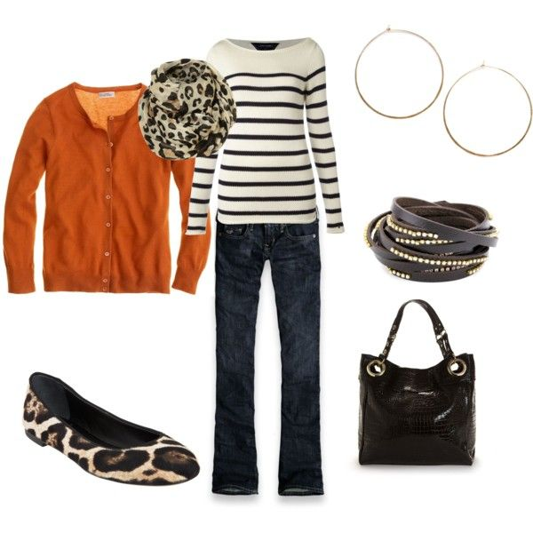 Stripes and animal printOlmy71, Fashion, Untitled 110, Navy Stripes, Animal Print Flats Outfit, Orange Cardigan, Fall Outfits, Clothing Fal, Dreams Closets