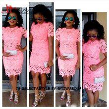 Kurze Aso Ebi Prom Kleider Knielangen Kurzarm Rosa Spitze Arabischen Stil Abendkleider bellanaija asoebi Formale Prom Dressess //Price: $US $115.00 & FREE Shipping //     #clknetwork