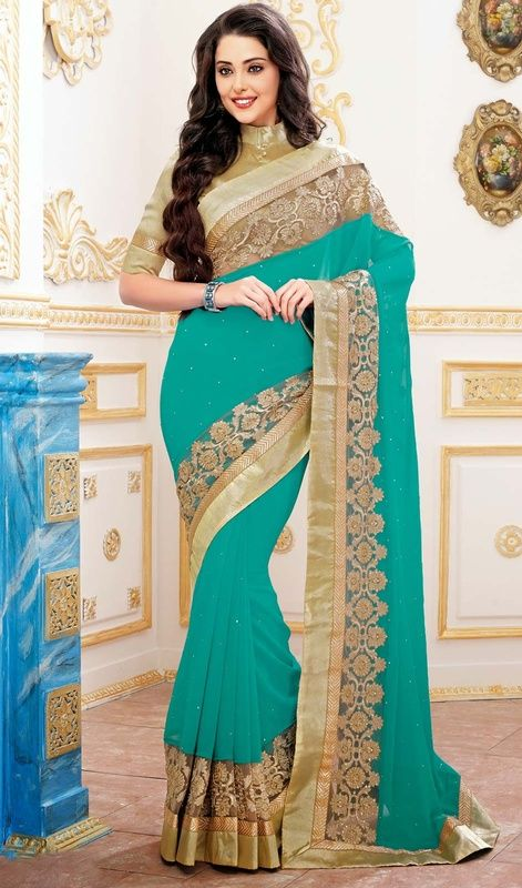 Style And Design And Pattern Would Be On The Peak Of Your Beauty When You Dresses This Greenish Blue Faux Georgette Saree. This Stunning Dress Is Showing Some Amazing Embroidery Done With Resham, Stones Work. #AquaBlueShadesOfSaree