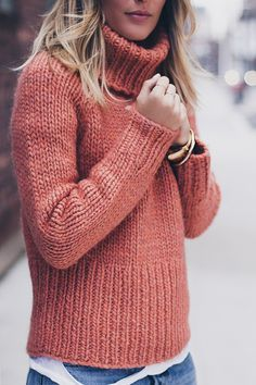 burnt orange chunky knit sweater More More