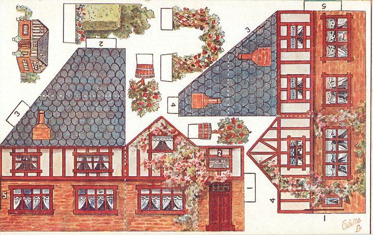 house with arbor & potted plants, grey roof