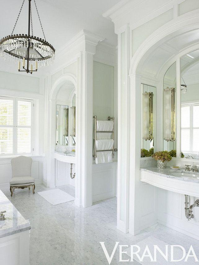 Love the chandelier - Bunny Williams via Veranda Magazine #Designer #Bathroom