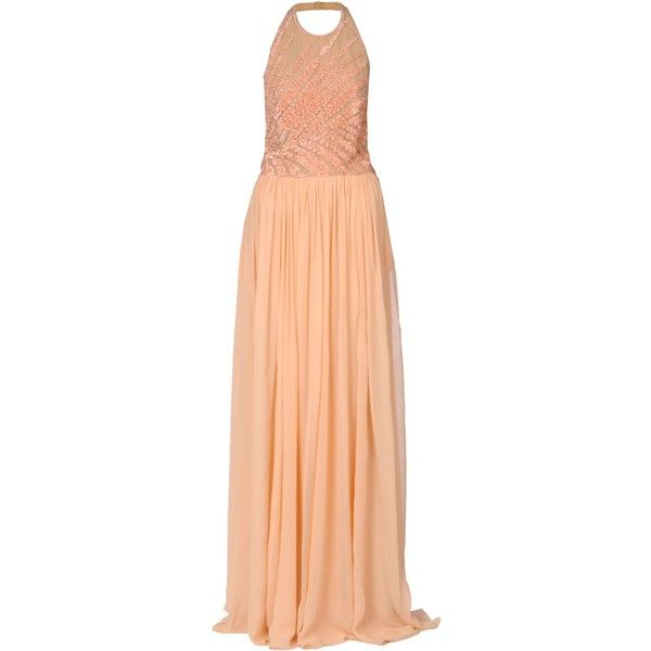 Elie Saab Long Dress ($2,625) ❤ liked on Polyvore featuring dresses, pink, pink sleeveless dress, beaded dress, pink sequin dresses, long red dress and long dresses