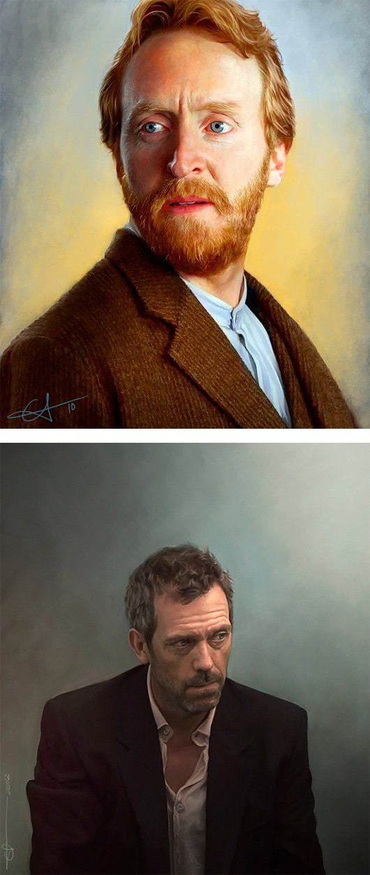 These are great realist digital paintings. I only start noticing its a digital painting once I look at the hair. Within the beard and hair on his head its not quite as fine as it looks as it should be.