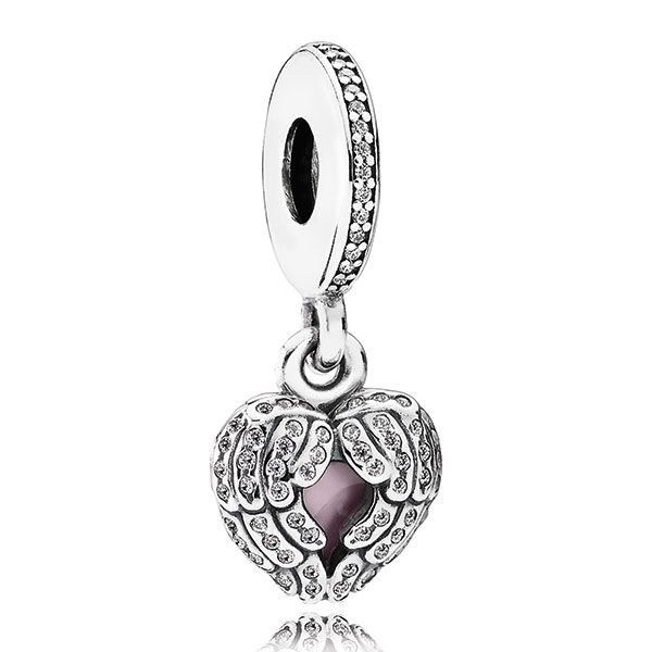 Inspired by talismanic traditions, this refined locket charm features a pair of protective sterling silver angel wings wrapped around a pink enamel core. Intricately crafted and embellished with accents of shimmering cubic zirconia stones, this piece is a stunning addition to any bracelet.<br> <br> <b> Style: </b> 791737CZ