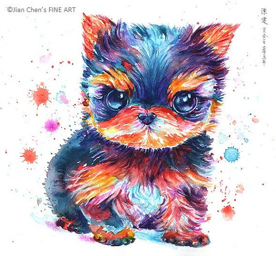 Small Mounted Print: teacup yorkshire terrier by JianChensFINEART