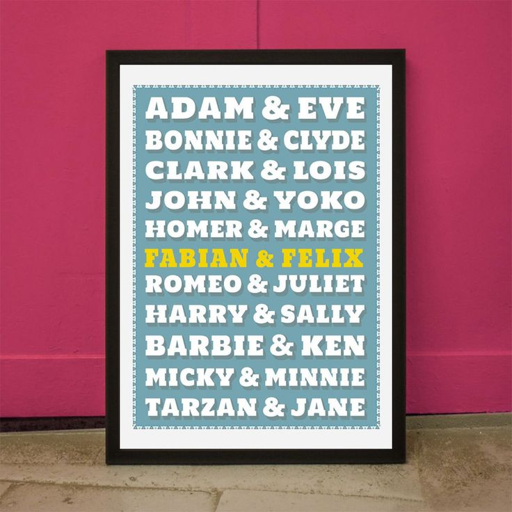 Zo mooi, dat je zelf ook eens romantisch kunt zijn – hierbij onze personaliseerbare poster met enkele van de beroemdste paren uit de geschiedenis.