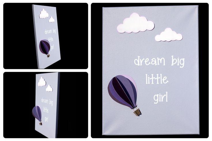3D Nursery Art - Hot Air Balloon and Clouds - dream big little girl