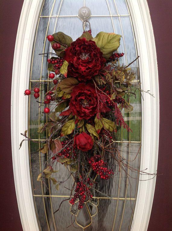 Fall Twig Vertical Teardrop Swag Door by AnExtraordinaryGift. , via Etsy.