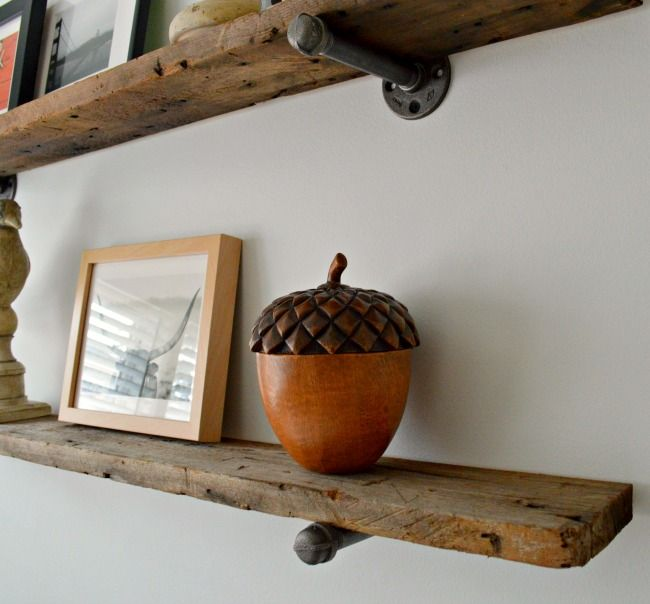 Barn wood shelves in the guest bedroom. | chatfieldcourt.com