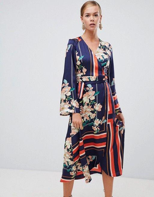 Boohoo Kimono Sleeve Midi Dress In Mixed Stripe And Floral Print In  Floral Prints Midi Dress With Sleeves Dresses