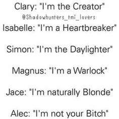Things Magnus Bane 100% does not do: Define himself by what he is.