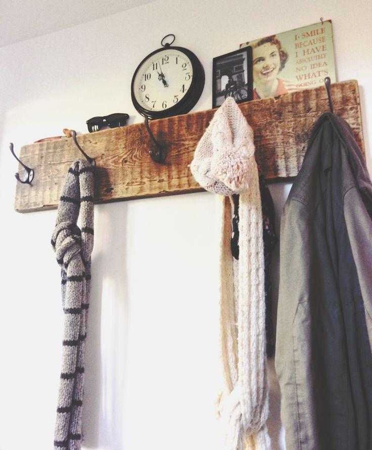 Reclaimed scaffold board coat rack