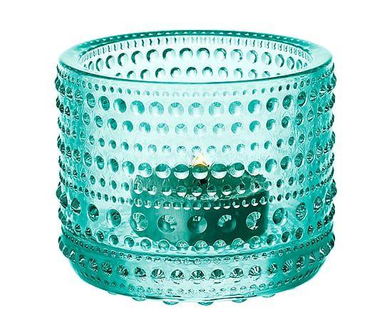 Portacandela in vetro smerigliato Kastehelmi - verde acqua