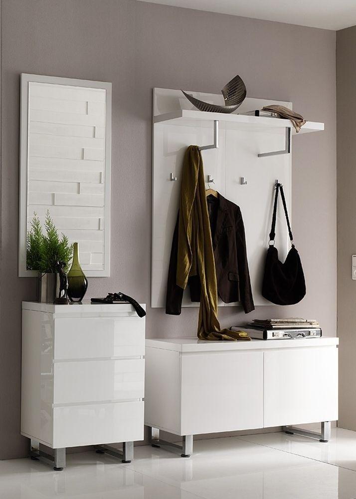 Garderoben Set Sidney 2 Dielenmöbel Flurmöbel Weiß Hochglanz 4691. Buy now at https://www.moebel-wohnbar.de/garderobe-komplett-set-2-weiss-hochglanz-4691