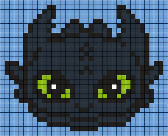 toothless from how to train your dragon  square  perler