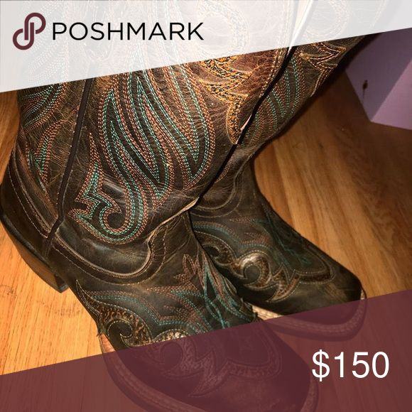 Amazing Ariat Boots! I have some sweet, brand new, Ariat brand boots for sale! Got them about a year ago and paid $350 bucks at a local shop. Lost the receipt and couldn't take them back. The leather stretched out and they're way too big for me now :( I've only worn them about 6 times so they're in mint condition! Super cute too! Will take $150 OBO, willing to negotiate. Such a good deal though! Also, can post more pics Ariat Shoes Heeled Boots