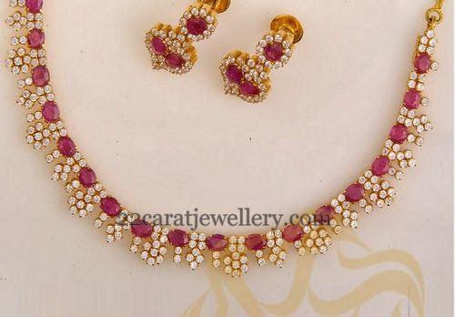 Jewellery Designs: Diamond Ruby Glittering Choker
