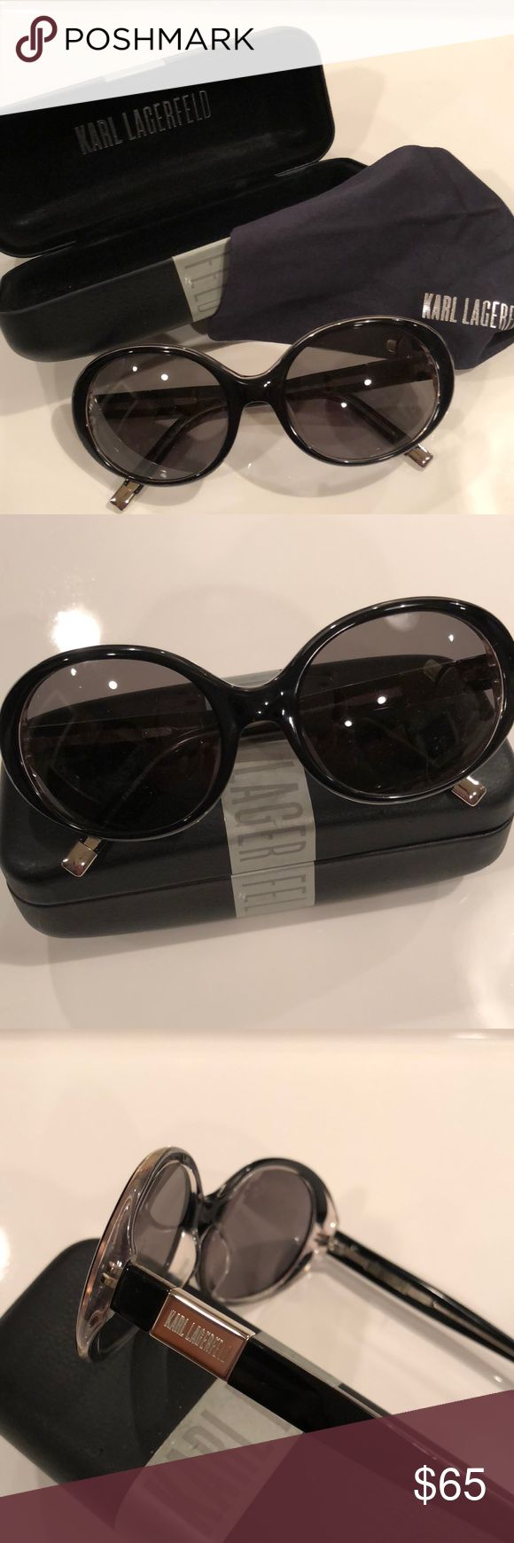 Karl Lagerfeld iconic sunglasses Beautiful  Karl Lagerfeld sunglasses  Worn once  Color :  Black and clear  Silver tips on arms and a KL engraved logo on one side  Model : KL 602 S 003  Oval Frames  Includes original  case and eyeglass cleaning cloth as pictured. Karl Lagerfeld Accessories Sunglasses