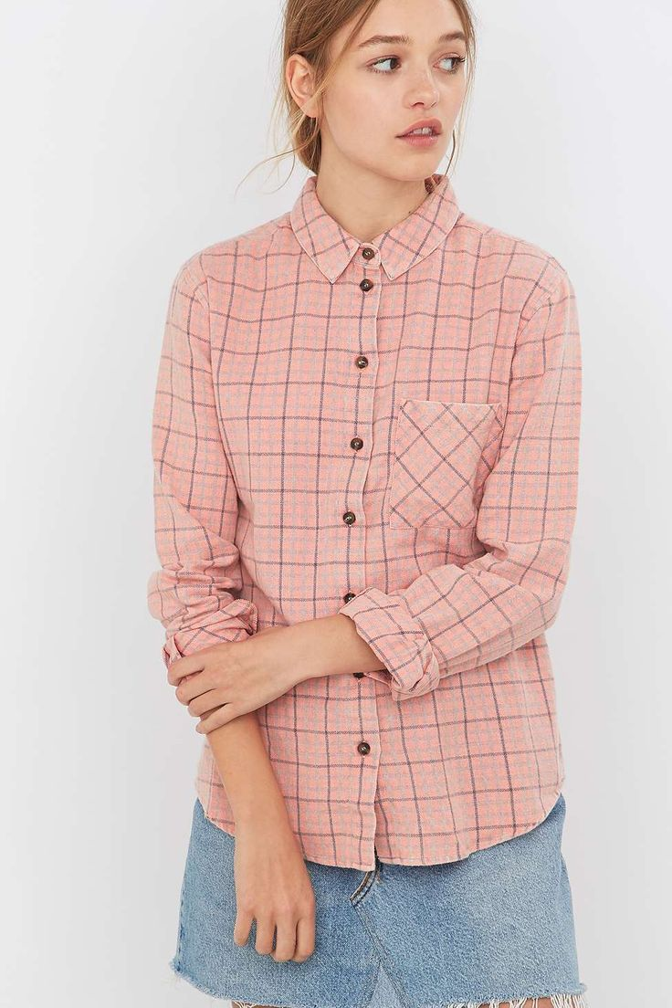 BDG Girlfriend Pink Flannel Shirt - Urban Outfitters