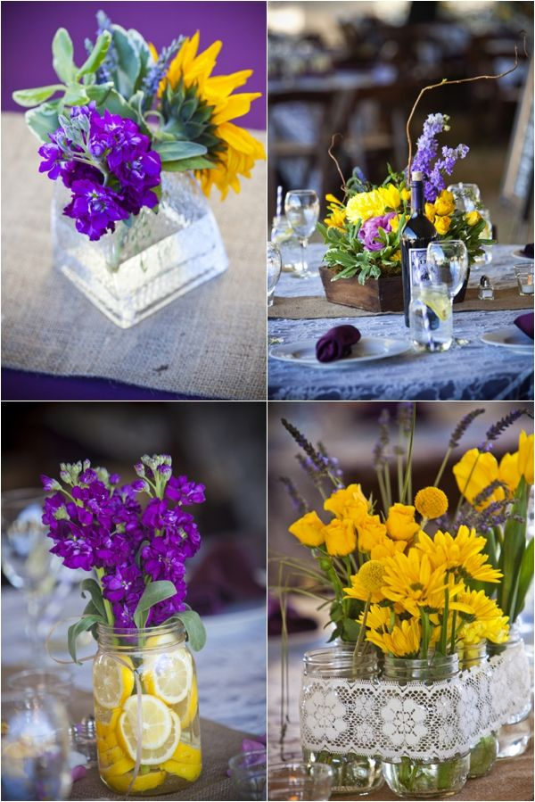 purple and yellow floral and mason jar centerpieces, sliced lemon mason jar centerpiece, purple and yellow rustic wedding, Kendall Price Photography