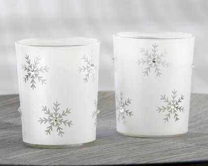 Sparkling Snowflake Glass Tea Light Holder  Set of 8
