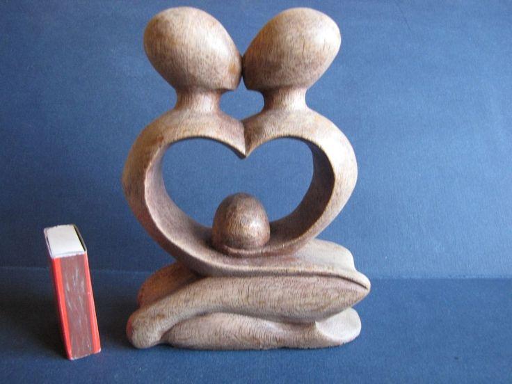 Vintage Folk Art Wood Table plaque rezboy Handmade heart man woman kiss