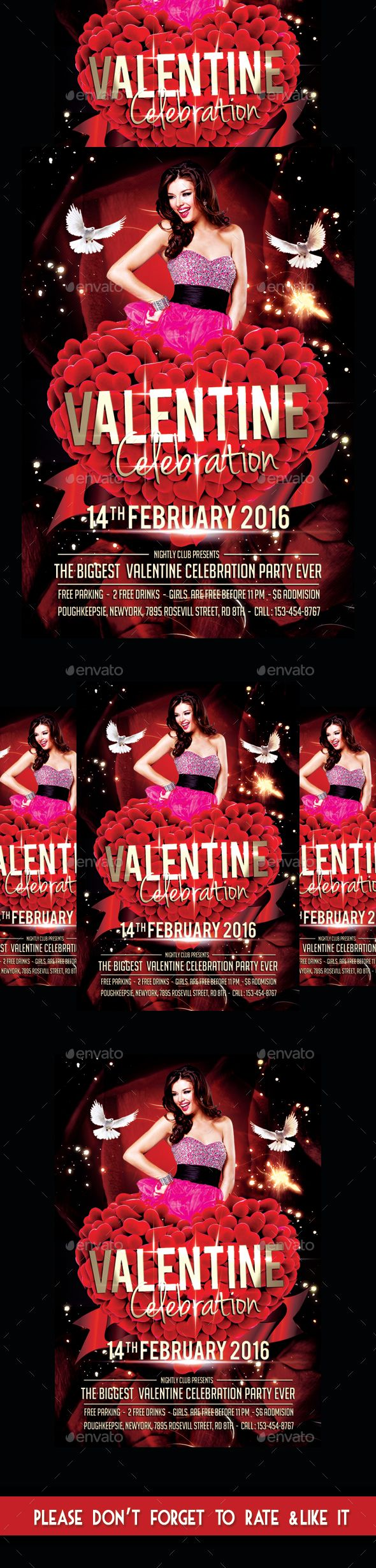 valentine's day flyer psd template
