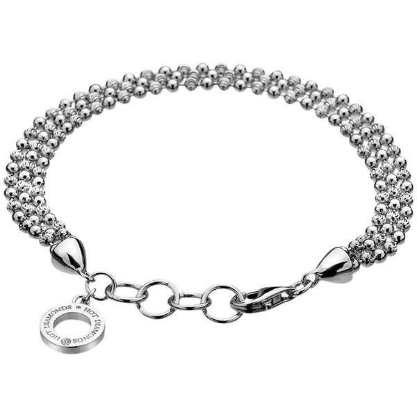 Hot Diamonds Sterling Silver Bead Bracelet (£88) ❤ liked on Polyvore featuring jewelry, bracelets, sterling silver bangles, bead charms, diamond jewellery, sterling silver charms and charm bangle