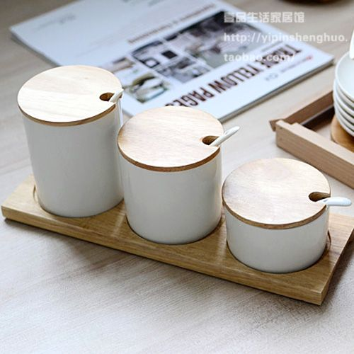Non muji viento natural de madera de caucho condimento tarro tapa de olla de café de cerámica azucarero té Caddy juego de envases en   de   en AliExpress.com   Alibaba Group                                                                                                                                                      Más