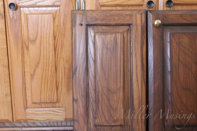 antique walnut gel stain over oak